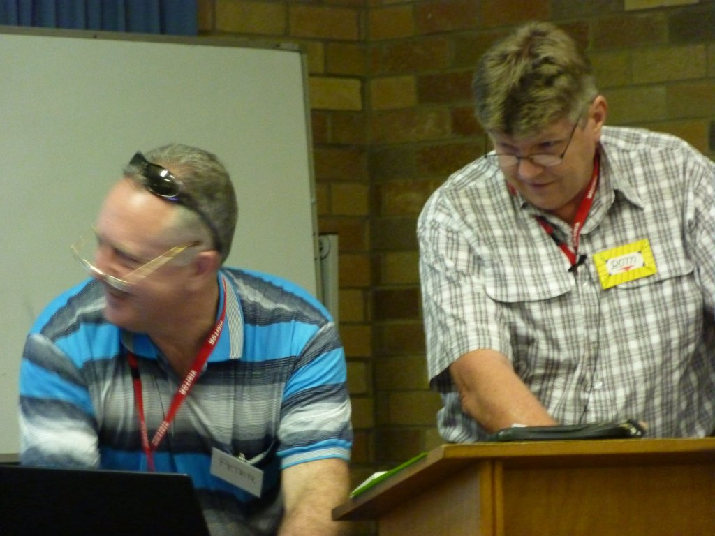 Peter Ward and Rom Harper preparing for the next session.