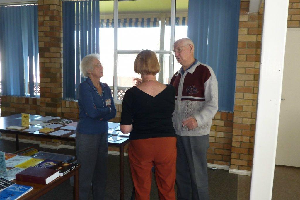 Margaret, Elizabeth and Athol in discussion.