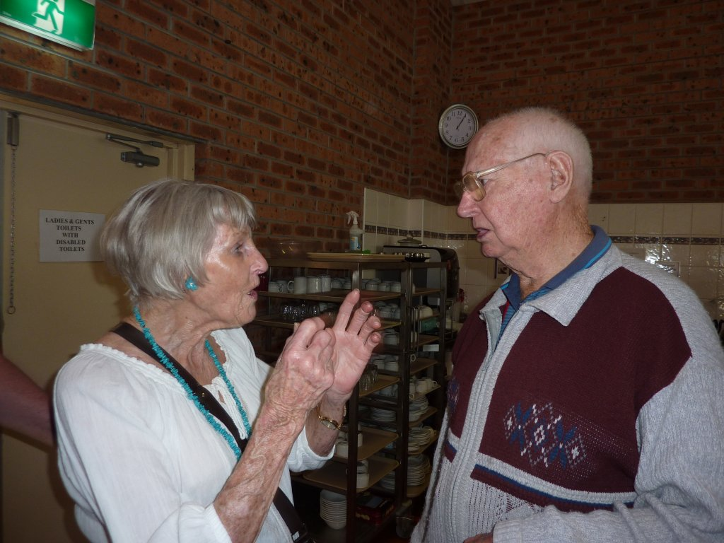 Ruth and Athol in mid-conversation.