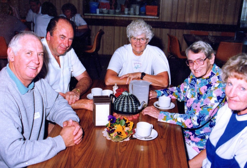 1991 - Tea break at the Conference at Bethshan NSW. L to R: Athol Walter, Alan Eden, Joy Jarvis, Daisy Collier, Ruth Andrew.