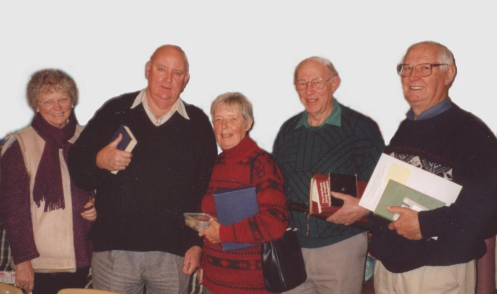 2003 - Bible Students L to R: Coral Hutton, John Hutton, Eveline Walter, Ron Hodge, Athol Walter