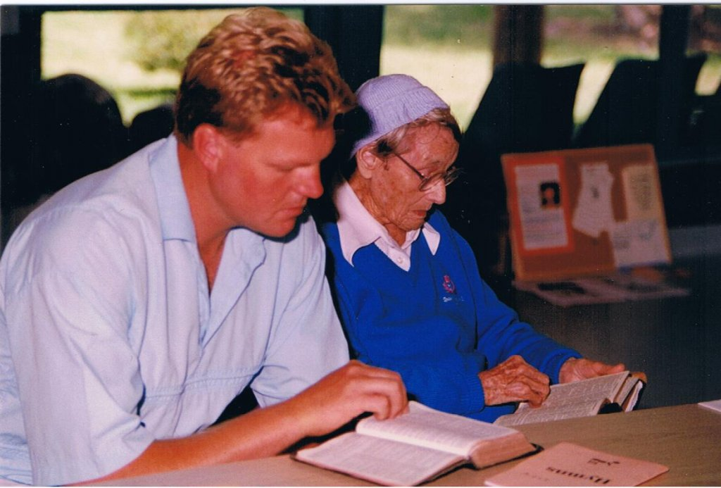 1992 - Tim Andrew & grandmother Daisy Collier at BBFA Conference at Elim NSW.